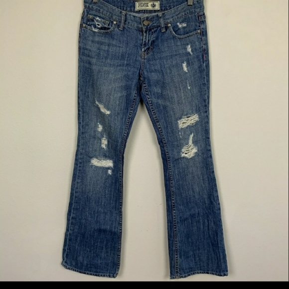 PINK Victoria's Secret Denim - PINK VS Denim Flare Distressed Blue Sz: 25